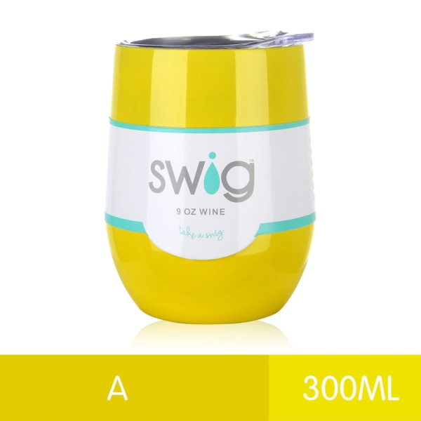 300ML Double Walled Tumbler Cup w/ Straw Insulated Cup Yellow A