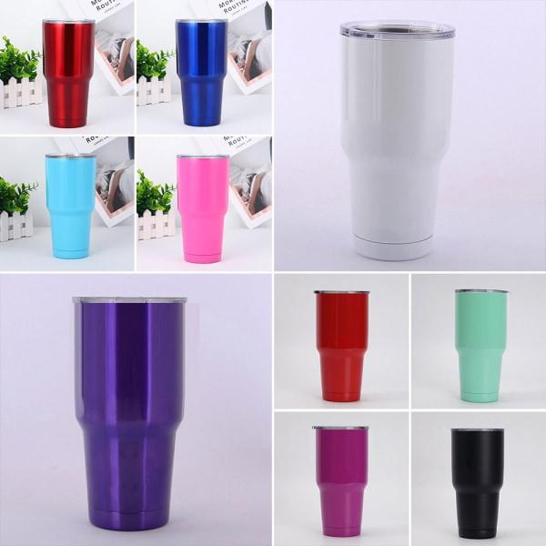 30oz Ice Beer Mug Steel Coffee Travel Reusable w/ Straw Blue 2