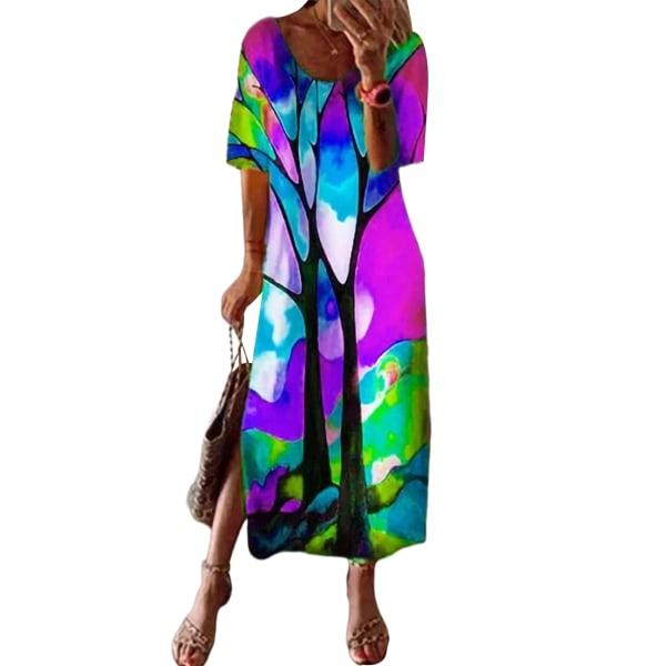 Women Abstract Short Sleeve Long Dress Long T-Shirt Purple,XXL