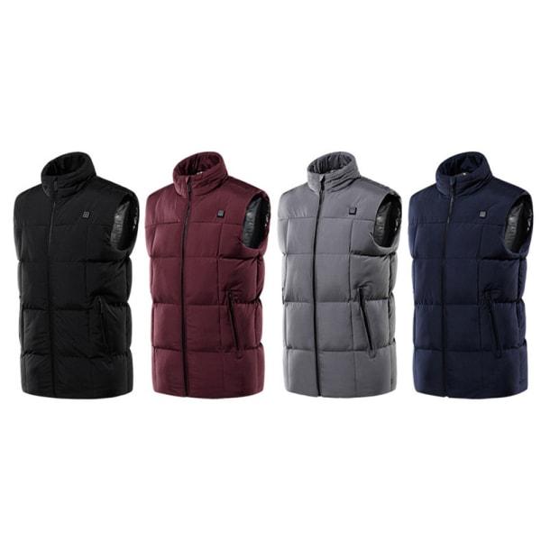 Men's Heated Jacket Electric Vest Thermal Pad Winter Body Warmer Dark Blue,4XL