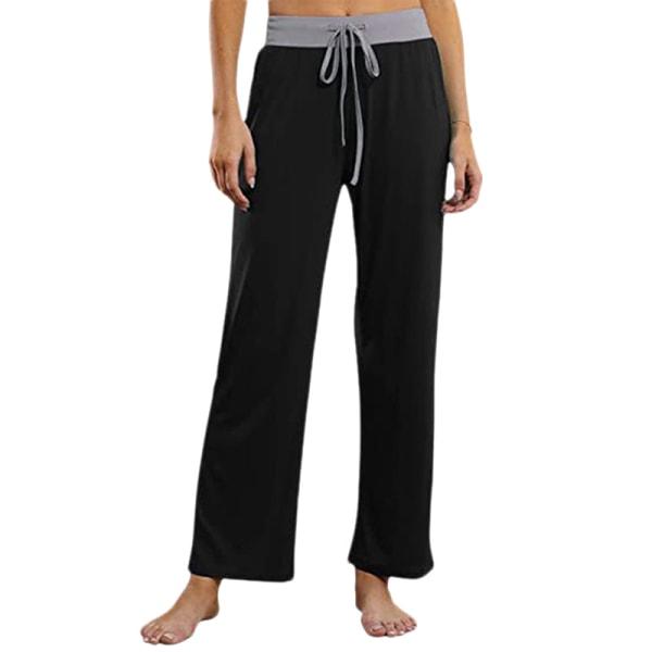 Women Dance Yoga Pants Sports Leg Pants Trousers Straight Leg Black,L