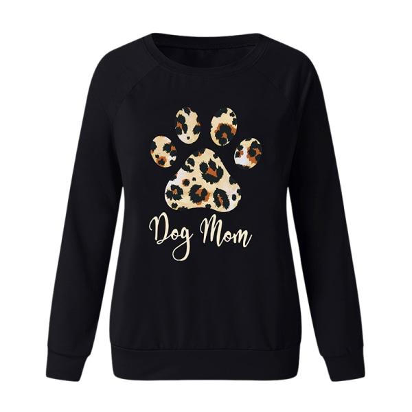Women Round Neck Pullover Loose Sweatshirt Top T-Shirt Black 3XL