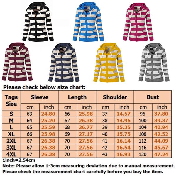 Women Long Sleeve Striped Hooded Top Sweatshirts Zip Coat Yellow S