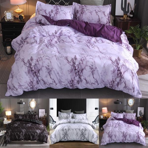 3PCS Marble Duvet Quilt Cover Set Size Bedding Set Pillowcases White,200x230cm