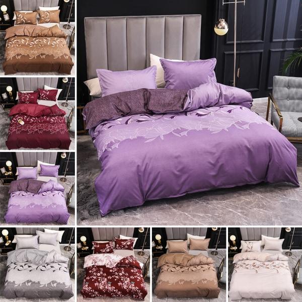 3Pcs Modern Floral Duvet Quilt Cover Set Bedding Set+Pillow Case Gray,135x200cm