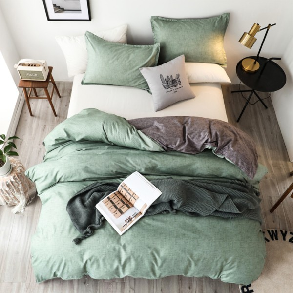 3Pcs Modern Quilt Cover Set King Size Bedding Set + Pillowcase Green,240X220cm