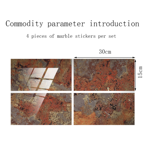 4/16 Pcs Marble Printed Tile Stickers Self-Adhesive Waterproof Brick Red,16 pcs