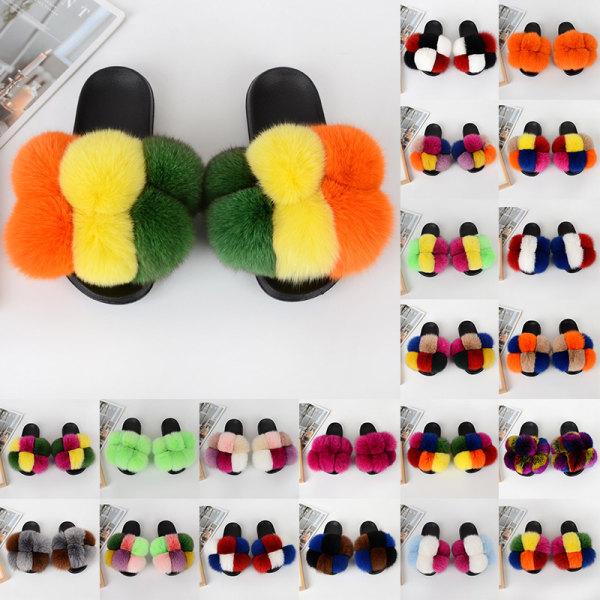 Ladies Slippers Fur Ball Flat Sandals Lightweight Mules # 09 36-37
