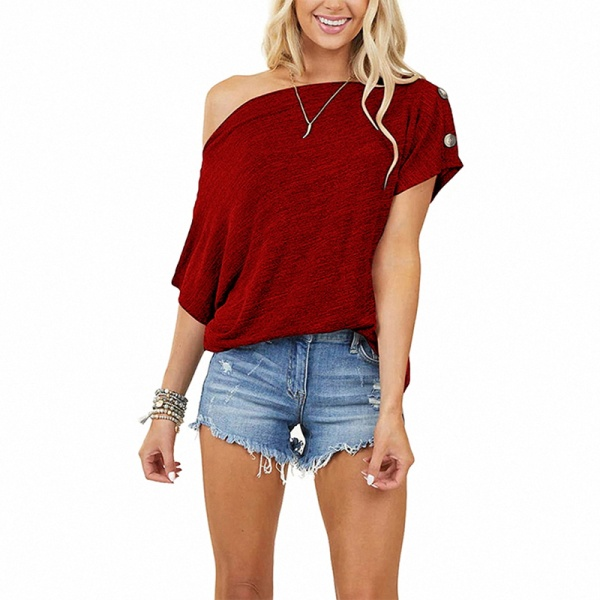 Women's casual short-sleeved top T-shirt loose one shoulder Red,S