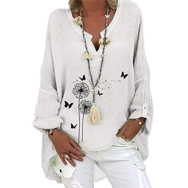 Women Baggy Boho Cotton Linen Shirts Roll Tab Sleeve Blouse Tops White Butterfly M