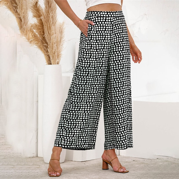 Women's Elastic Wave Polka Dot Pants Wide Leg High Waist Pants Black,M