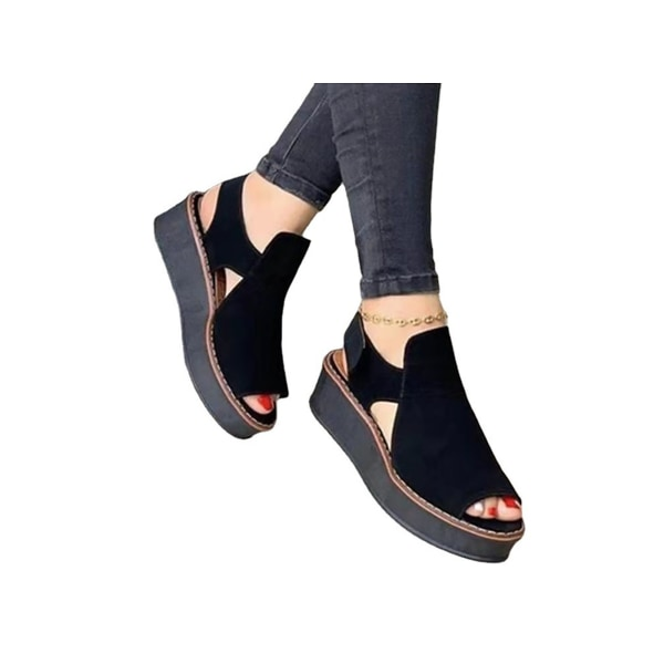 Women's summer Velcro strap platform casual non-slip sandals Black 37