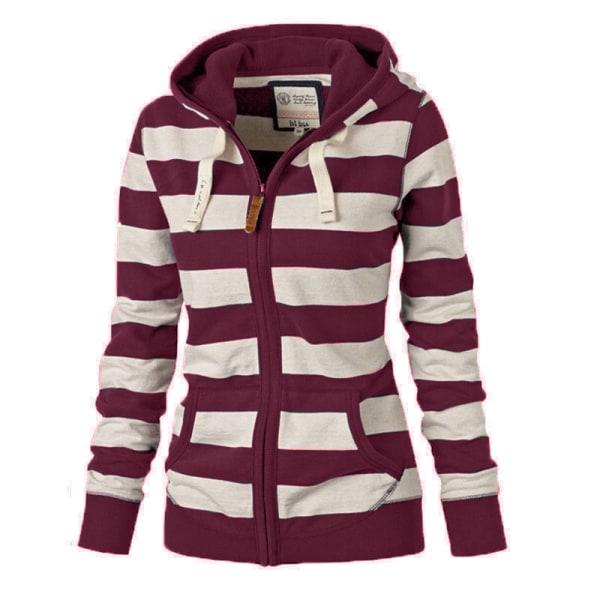 Women Long Sleeve Striped Hooded Top Sweatshirts Zip Coat Wine Red XL