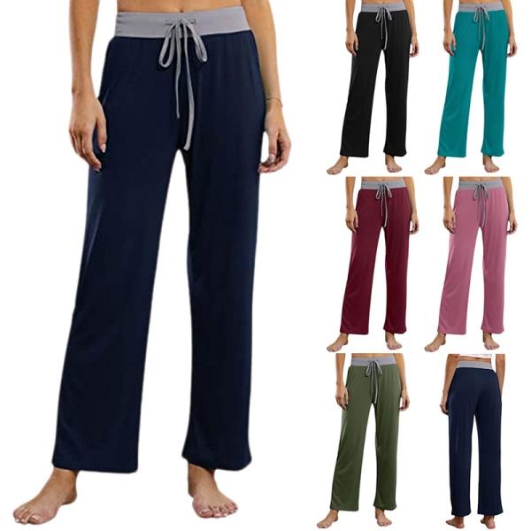 Women Dance Yoga Pants Sports Leg Pants Trousers Straight Leg Blue,XXL