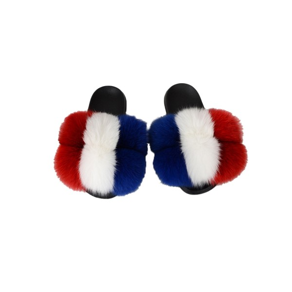 Ladies Slippers Fur Ball Flat Sandals Lightweight Mules # 07 44-45