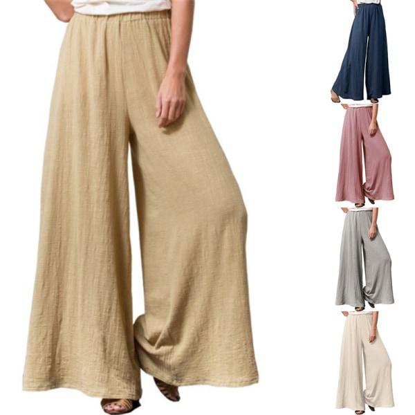 Womens Plus Size Elastic Pants Baggy Loose Wide Leisure Trousers Beige,5XL