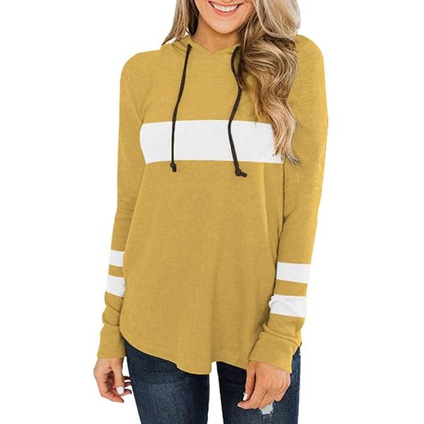 Womens Hoodied Sweatshirt Blouse Long Sleeve Autumn Jumper Tops Yellow White M