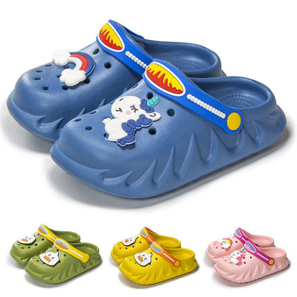 Children boys girls solid color slippers cute sandal beach shoes Blue,34/35