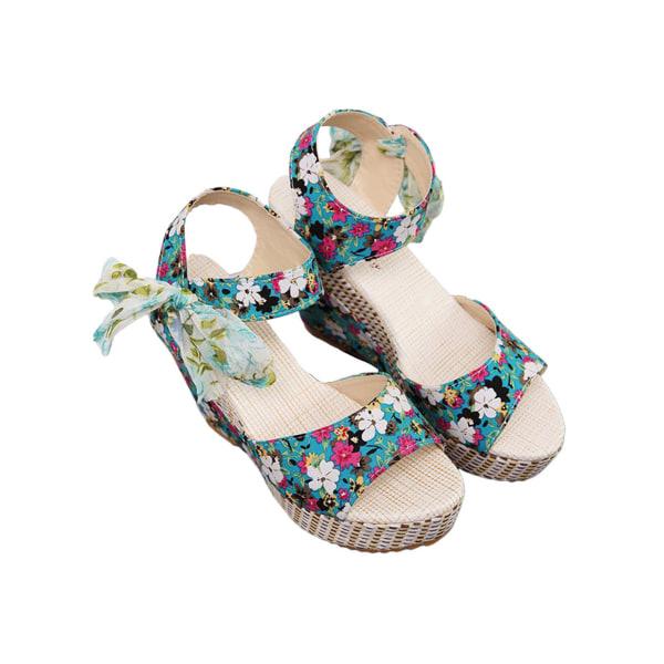 Women's Lace Open Toe Ankle Buckle High Heel Wedge Sandals Blue 39