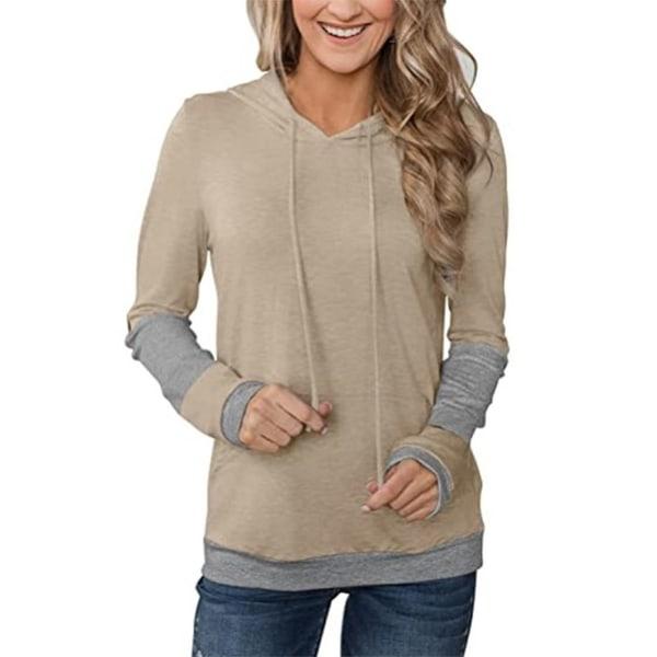Women'S Hooded Loose Long Sleeve Top Sweatshirt Khaki M