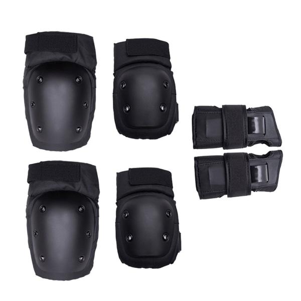 6Pcs Elbow Wrist Knee Pads Guard Protective Gear Roller Skate Black S