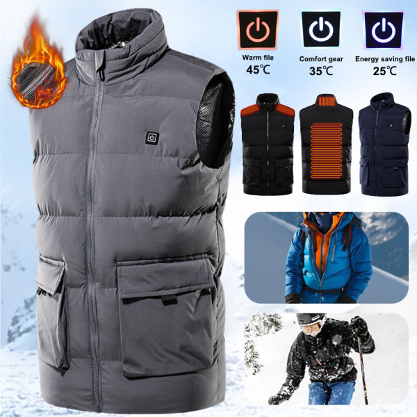 Men Electrically Heated Vest Jacket Waistcoat Thermal Heating Gray,2XL