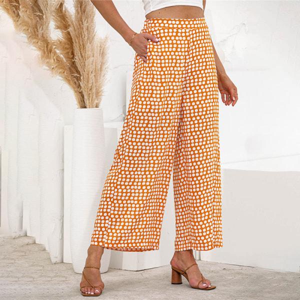 Women's Elastic Wave Polka Dot Pants Wide Leg High Waist Pants Yellow,XL