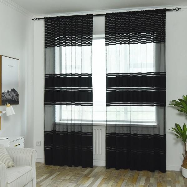 Warp Wide Striped Voile Net Curtain Single Panel Black,100x200cm