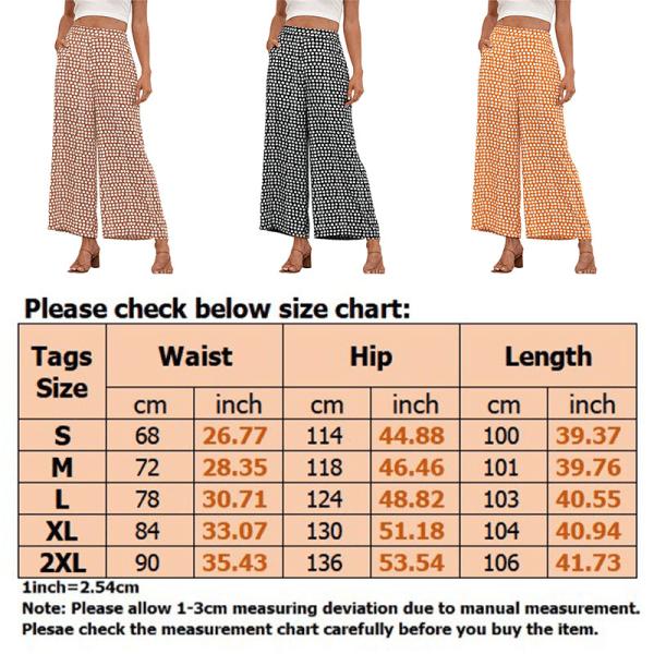 Women's Elastic Wave Polka Dot Pants Wide Leg High Waist Pants Yellow,L
