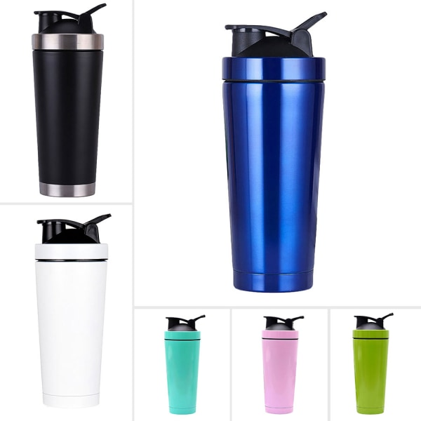 750ML Blender Bottle Stainless Steel Protein Mixer Cup Workout Blue