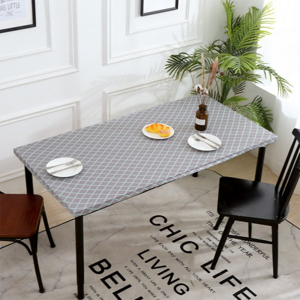 Rectangle Tablecloth Waterproof Elastic Edge Table Cloth Cover 10# Gray Check 76x244cm