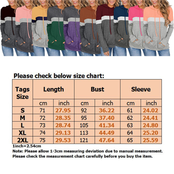 Women Contrast T-Shirt Slim Hoodie Long Sleeve T-Shirt Sweater Caramel Colour L