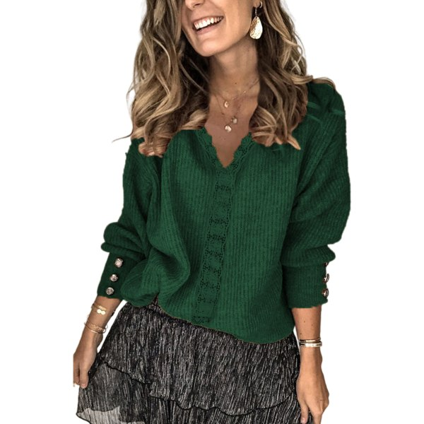 Women Lace Splicing Jumpers Sweaters Baggy V Neck Pullover Blackish Green M