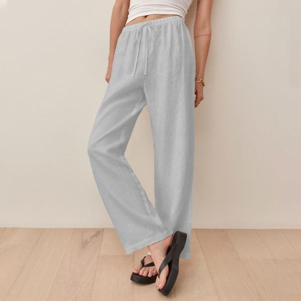 Women's Elastic Pants High Waisted Loose Loose Leg Straight Leg Light Gray,L