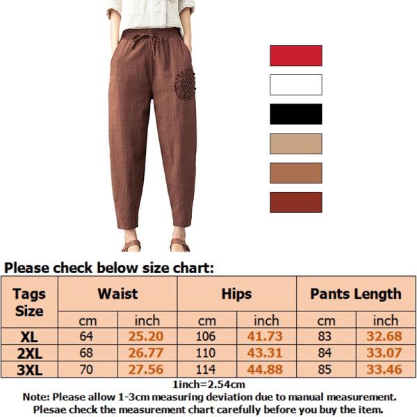Women Solid Embroidery Elastic Harem Pants Baggy Loose Pants Khaki,XL