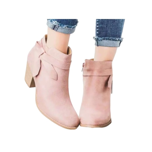 Women's Pointed Toe Western Cowboy Platform Stack Heel Boots Pink 36