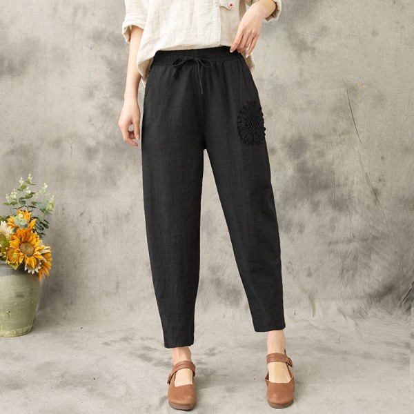 Women Solid Embroidery Elastic Harem Pants Baggy Loose Pants Black,2XL