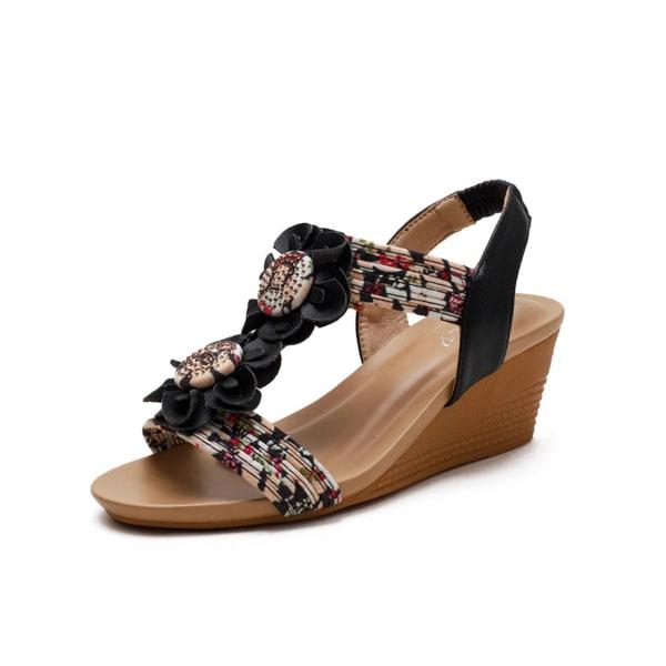 Women's sandals lace-up wedges summer dinner beach shoes Black 39