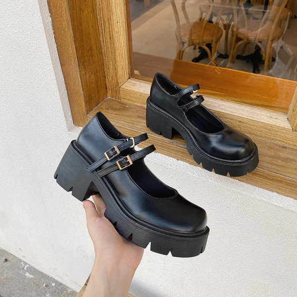 Abtel Women's Mary Jane School Shoes Platform Ankle Buckle Matte,39