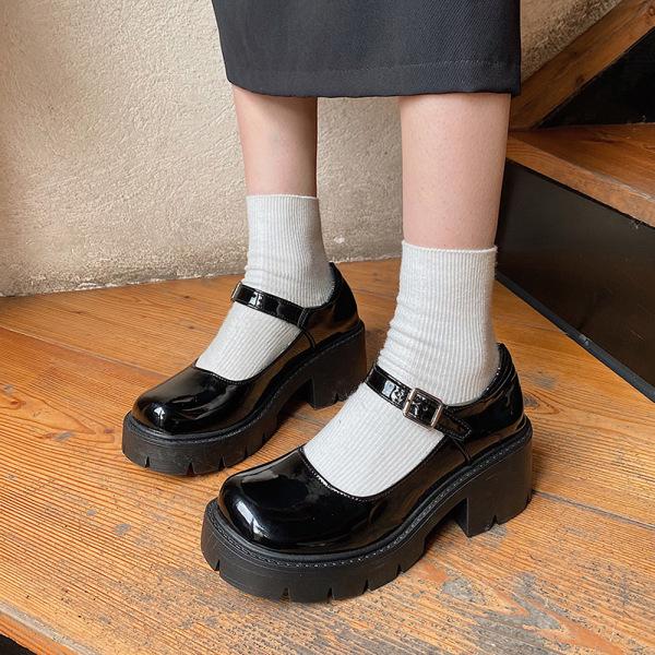 Abtel Women's Mary Jane School Shoes Platform Ankle Buckle Single Buckle,37