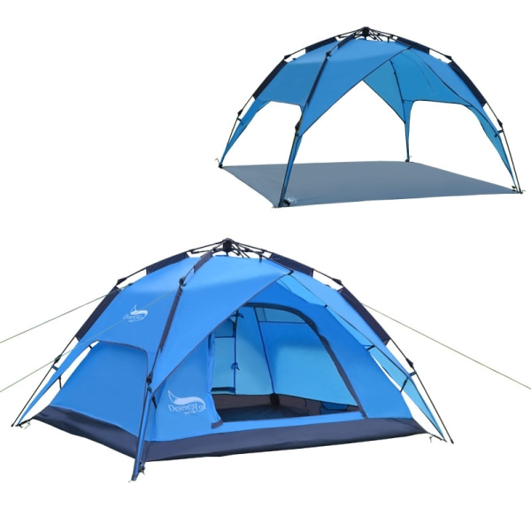 Automatic 3-4 Person Double Layer Waterproof Camping Pop Up Tent Blue