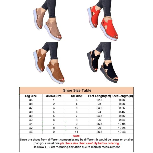 Women's summer Velcro strap platform casual non-slip sandals Black 43