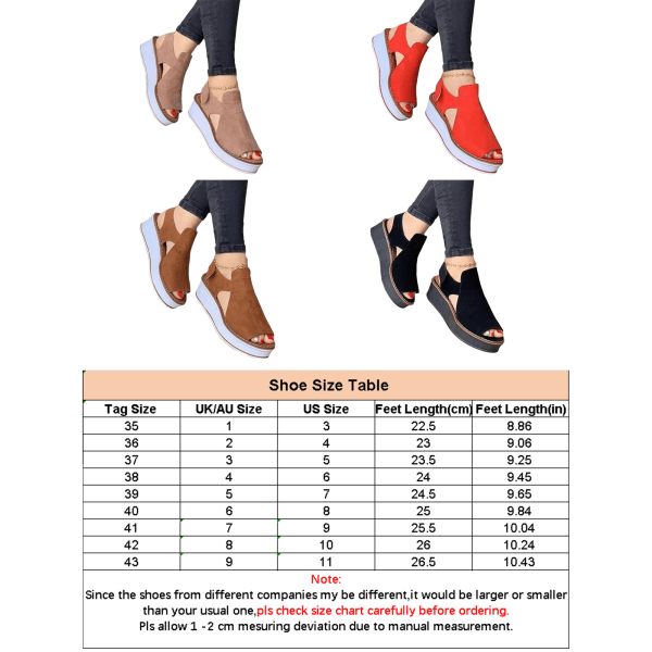 Women's summer Velcro strap platform casual non-slip sandals Red 38