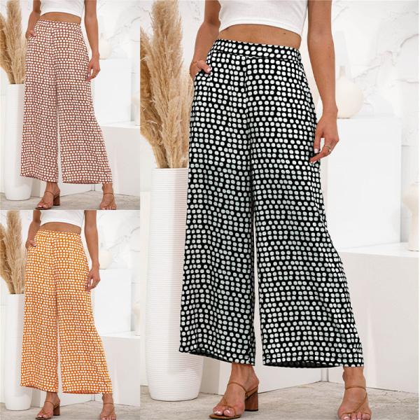 Women's Elastic Wave Polka Dot Pants Wide Leg High Waist Pants Black,L