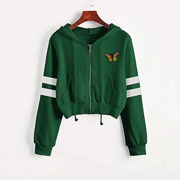 Women Solid Color Zip Ingot Hooded Short Sweater Casual Jacket Green Butterfly S