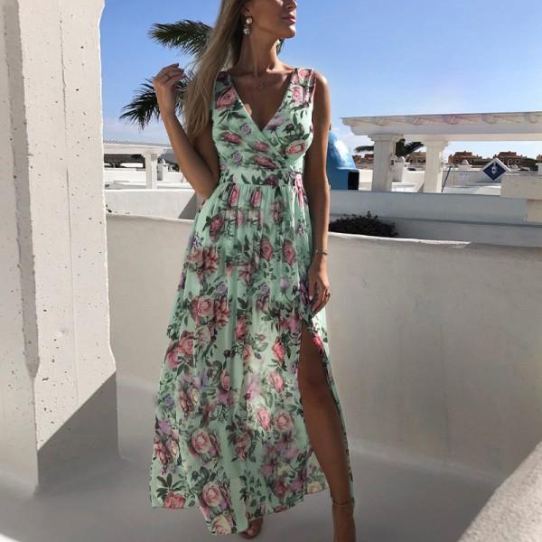 Women Beach Floral Bohemian Chiffon Sleeveless Summer Long Dress Green,L