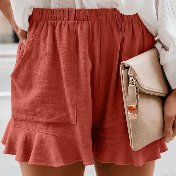 Women Summer Shorts High Waist Baggy Beach Ruffle Hot Pants Red,3XL