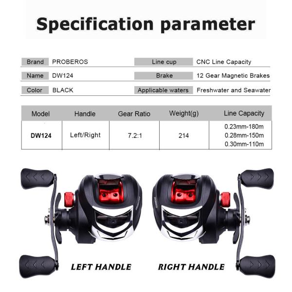 Baitcasting Reel 10KG Drag 7.2:1 Gear Ratio High Speed Fishing Right Handed