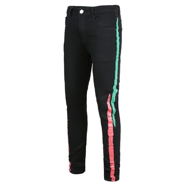 Black Men Jeans Stretch Regular Casual Trousers Red-Green Stripes,42