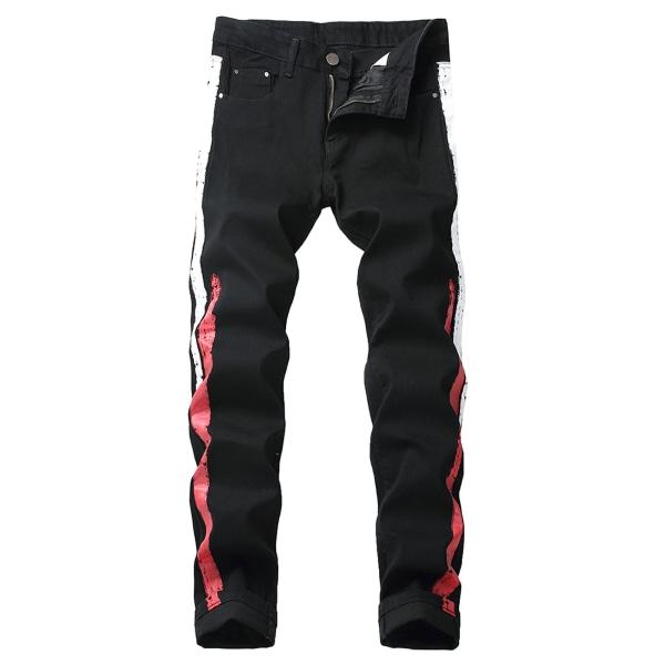 Black Men Jeans Stretch Regular Casual Trousers White Red Stripe,40